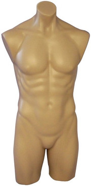 Fleshtone Plastic Male Torso Form PS-P908F