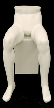 Matte White Seated Male Mannequin Leg Form MM-SLEGM