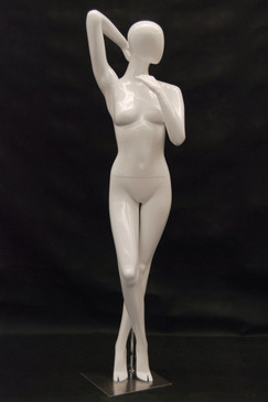 Kris, Gloss White Abstract Egg Head Female Mannequin MM-NC7-1