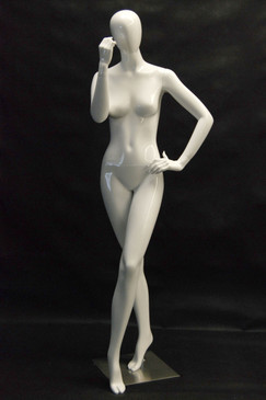 Kendall, Gloss White Abstract Egg Head Female Mannequin MM-NC8-1