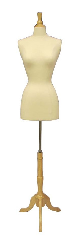Cream Female Body Form size 2/4 with Base MM-JF2/4 with Natural Wooden Tripod Base