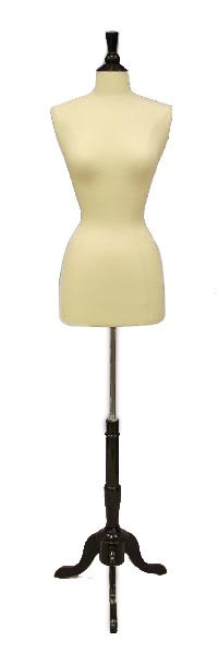 Cream Female Body Form size 6/8 with Base MM-JF6/8 with Black Wooden Tripod Base