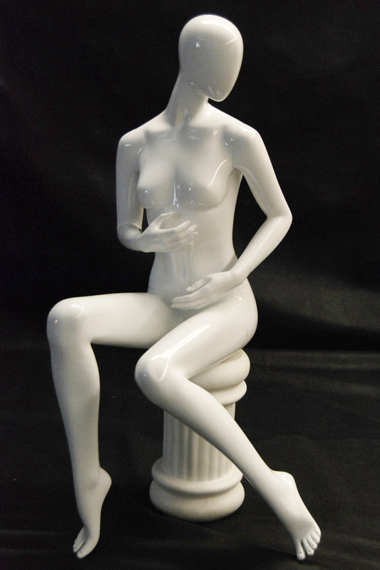 Kylie, Gloss White Abstract Seated Female Mannequin MM-NC9-1
