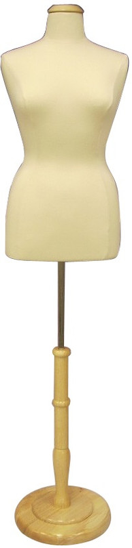 Cream Female Body Form size 10/12 with Base MM-JF10/12 with Round Natural Wooden Base
