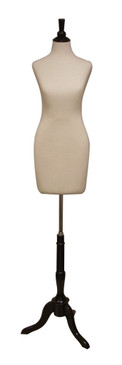 Cream Female Body Form with Base MM-JF01 Black Wooden Tripod Base