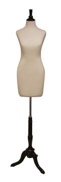 Cream Female Body Form with Base MM-JF01 Black Wooden Tripod Base