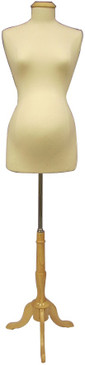 Cream Female Pregnant Body Form with Base MM-JF8W8 Natural Wooden Tripod Base