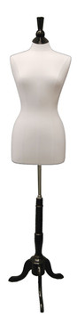 Pure White Female Body Form size 6/8 with Base MM-JF6/8LW Black Wooden Tripod Base