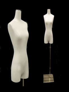 Pure White Linen Female Body Form with Legs and Base MM-JF1WL