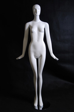 Paris, Gloss White Abstract Egg Head Female Mannequin with face features MM-XD01W-1