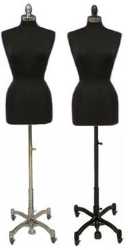 Black Female Body Form size 10/12 with Caster Base MM-JF10/12BKC