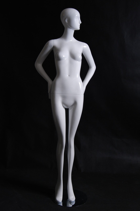 Hillary, Gloss White Abstract Egg Head Female Mannequin with face features MM-XD04W-1