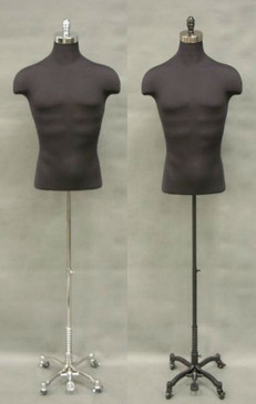 Black Male Shirt Body Form with Caster Base MM-JF33DD02C