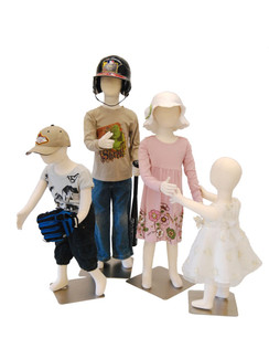 Group of 4 Poseable Children Mannequins with Flexible Arms Ages 1T, 3T, 5T, 7T MM-JFCH1357