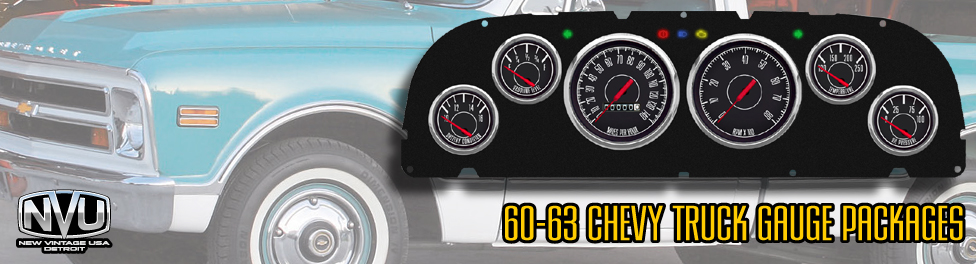60-63 Chevy Truck gauges direct fit panels from NVU