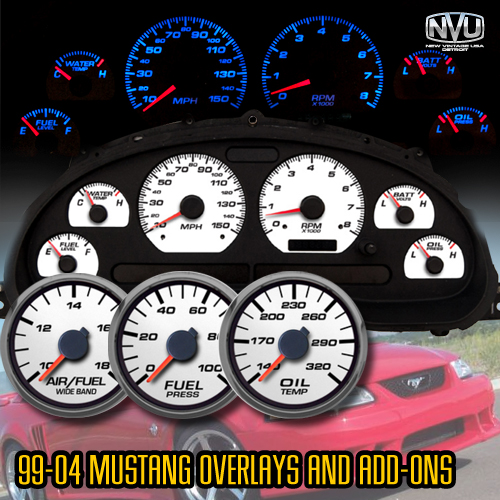 99-04 mustang dash gauges aftermarket overlay panel instruments