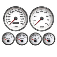 PERFORMANCE 6 GAUGE KIT 4-3/8 2-1/16 PROG  WHT 0-90 GM FUEL