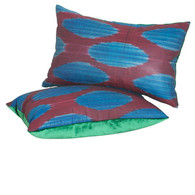 PILLOW: BLUE OVALS cotton ikat