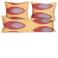 PILLOW: GOLDEN OVAL SET  silk/cotton ikat, one long & two medium lumbars