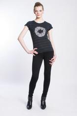 WAVE TIGER LOGO SHIBORI TEE: Organic Cotton  black/indigo  short sleeve