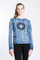 WAVE TIGER LOGO SHIBORI TEE: Organic Cotton white/indigo long sleeve