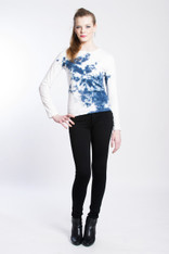 WAVE HOLSTEIN SHIBORI TEE: Organic Cotton white/indigo long sleeve