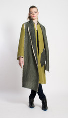 KATY SHIRTDRESS: Macha Green with Charcoal Shawl