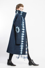 CIRCLE of 3: Curved Tracks Kantha Quilted Coat with Tiger Shibori Silk Scarf