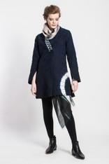 Matelasse Jacket: Long Shibori Arch (cotton with Japanese vintage ikat collar lining)