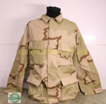 US ARMY 3-COLOR Desert Tan Long Sleeve BDU Shirt NEW / UNISSUED