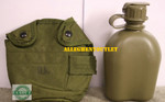 US MILITARY NEW 1 QT CANTEEN OD W/ USED CASE & ALICE CLIPS NEW / EXCELLENT CONDITION