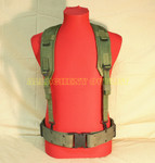 USGI MILITARY LBE Y SUSPENDER w/ LARGE USMC LC2 PISTOL WEB BELT WITH (4) ALICE CLIPS VERY GOOD CONDITION