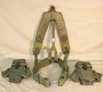 US ARMY Y SUSPENDERS w/ LC2 PISTOL BELT / (2) AMMO POUCHES w/Clips SIZE: LARGE VERY GOOD CONDITION