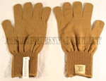 GENUINE U.S. MILITARY ISSUE BROWN WOOL GLOVES INSERTS SIZE XL NEW WITH TAG / UNISSUED CONDITION