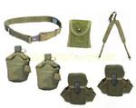 NICE US Army OD Y Suspender LBE w/ 2 Canteens with Cases / 2 Ammo Pouches / 1 First Aid / Compass Pouch / LARGE Canteen Pistol Web BELT