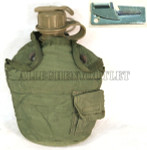 GENUINE U.S. MILITARY ISSUE OLIVE DRAB GREEN 1 QT Cover & Alice Clips & 1 QT Canteen VERY GOOD CONDITION w/ FREE P-38 Can Opener NEW / UNISSUED