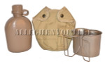 USGI Military SET 1 QT Coyote Brown CANTEEN / Desert Tan COVER / Stainless Steel Butterfly CUP BRAND NEW / UNISSUED