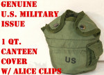 Lot of 2 CANTEEN COVERS, 1QT 1 QUART POUCH & CLIPS US Military EXC
