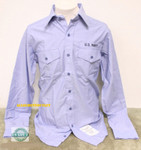 (3) US Navy USN Men's Chambray Blue LS Uniform / Utility Shirt Sz XXL 2XL NEW IN BAG / UNISSUED
