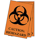 "Labels, ""Caution: Biohazard"", Small, 2.5"" x 4"", Pack of 100"