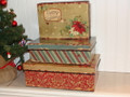 Set of 3 Rectangle Holiday Tin Boxes