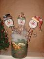 Set of 3 Tin Snowman on Stakes