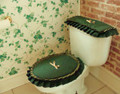 The Homestead Coll.- Hunter Green/Oatmeal Commode Set