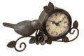 Metal Clock With Bird Accent