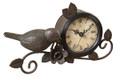 Metal Clock With Bird Accent