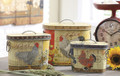 Set of 3 Country French Rooster Tins