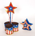Stars and Stripes Tin Utensil and Napkin Holder Set