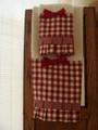 Red and Cream Check-Set of 3 Decorated Towels