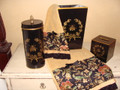 Handpainted Classic Black Wastebasket and Tissue Cover