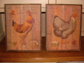 "Our old wooden rooster and hen pictures measure 17""X13""."